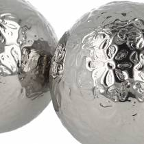 Floating ball flowers silver metal Ø5.5cm assorted 6pcs