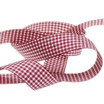 Gift ribbon check Bordeaux 8mm-25mm 20m