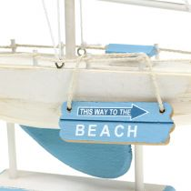 Decorative sailing boat made of wood blue, white H41.5cm