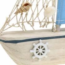 Decorative sailing boat wood blue white nature 20x4cm H30cm