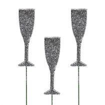 Champagne glass with glitter silver 8cm L28cm 24pcs