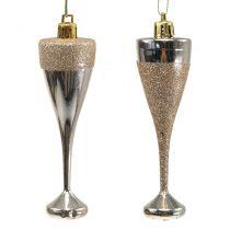 Champagne glasses to hang light gold 10cm 8pcs