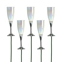 New Year's Eve deco champagne glass plug silver 7.5cm L27cm 12pcs