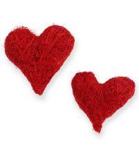 Sisal hearts 5-6 cm red 24pcs