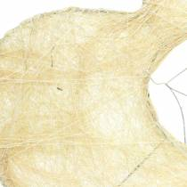 Sisal cuff heart bleached 16cm 10pcs