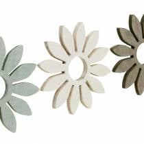 Summer flowers wood decoration flowers brown, light gray, white streudeko 72pcs