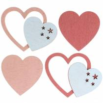 Scattered hearts pink / white 24pcs