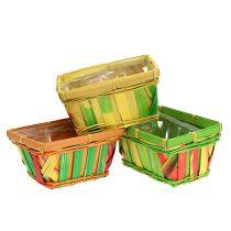 Chip basket square multicolored 15cm 12pcs
