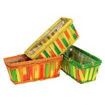 Chip basket square multi-colored 25cm 9pcs