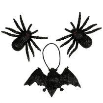 Spider, bat figures black 10cm, 14cm 3pcs