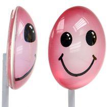 Decorative smiley on the stick, assorted colors 3.5cm 8pcs