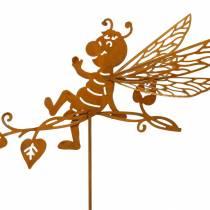 Garden plug rust bee 34.5 × 14cm metal garden decoration 4pcs