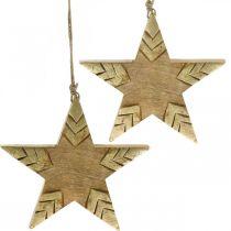 Star mango wood natural, golden wooden star large to hang 25cm 2pcs