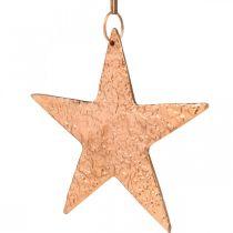 Decorative star to hang, Advent decoration, metal pendants copper-colored 12 × 13cm 3pcs
