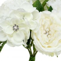 Decorative bouquet white with pearls and rhinestones 29cm