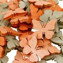 Streudeko butterfly wooden butterflies summer decoration orange, apricot, brown 144p