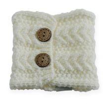 Knitted tube 10cm x 11cm white 4pcs