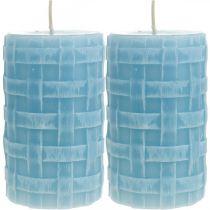 Wax candles basket pattern, pillar candles, candles Rustic light blue 110/65 2pcs