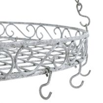 Decorative tray with hooks gray Ø44.5cm