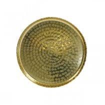 Orient-optic tray, golden decorative plate, metal decoration Ø18.5cm