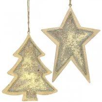 Metal pendants fir and star, Christmas tree decorations, Christmas decoration golden, antique look H15.5 / 17cm 4pcs