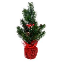 Fir 32cm with cones and bag red