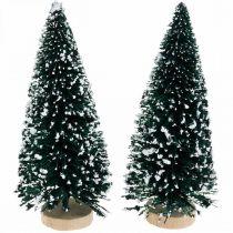 Decorative fir with snow, Christmas decoration, Advent H13cm Ø5.5cm 2pcs
