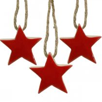 Wooden star Christmas tree decorations red, natural decorative stars 5cm 24pcs