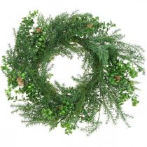 Decorative wreath with coniferous branches, cones and boxwood green 60cm