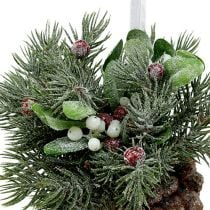 Pine cones with decoration for hanging red 25cm - 32cm