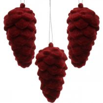 Decorative cones flocked, autumn decoration, pine cones red, Advent H8.5cm Ø4.5cm 8pcs