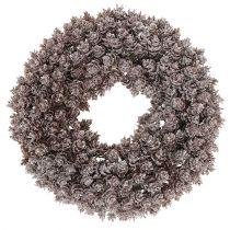 Pine cone wreath Ø25cm with glitter