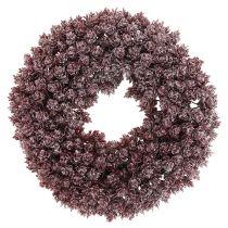 Pine cone wreath Ø25cm Burgundy iced