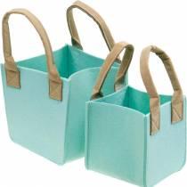 Decorative planter, felt mint green, felt basket with handles, felt decoration, set of 2
