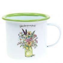 Decorative cup plant pot enamelled Ø11.5cm H10cm