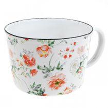 Enamel plant cup, decorative cup with rose decor, planter Ø10cm H7cm
