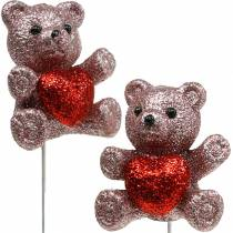 Decorative plug bear with heart, Valentine's Day, flower plug glitter 9pcs