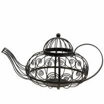 Decorative teapot cachepot metal dark brown Ø28cm H24cm