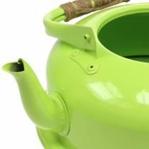 Planter tea kettle zinc may green Ø26cm H15cm