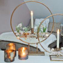 Tealight glass, candle holder, glass lantern antique look Ø10cm H10.5cm 2pcs