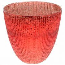 Candle glass lantern red glass deco vase Ø21cm H21.5cm
