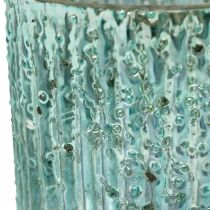 Tealight glass blue lantern glass candle decoration 8cm