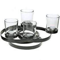 Advent candle holder metal round black 4 glasses 34 × 26 × 18cm