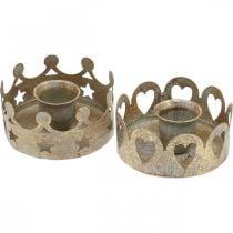 Candle holder metal for taper candles antique optics gold Ø7cm 4pcs