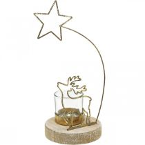 Tealight holder reindeer and poinsettia metal Ø10cm H24cm