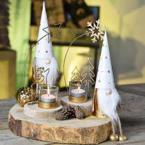 Gnome Christmas deco figure white, gold Ø6.5cm H22cm 2pcs