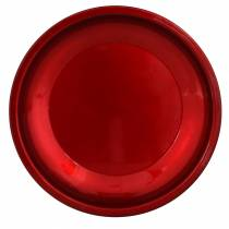Decorative plate made of metal red with glaze effect Ø23cm