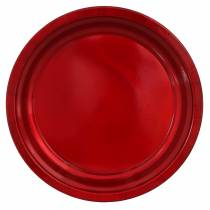 Decorative plate made of metal red with glaze effect Ø38cm