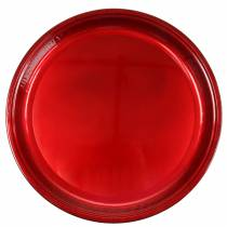 Decorative plate made of metal red with glaze effect Ø50cm