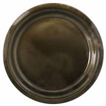 Decorative plate made of metal bronze with glaze effect Ø30cm
